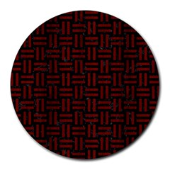Woven1 Black Marble & Red Wood (r) Round Mousepads by trendistuff