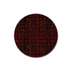 Woven1 Black Marble & Red Wood (r) Magnet 3  (round) by trendistuff