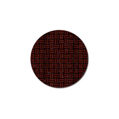 Woven1 Black Marble & Red Wood (r) Golf Ball Marker by trendistuff