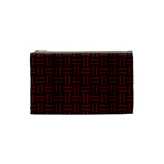 Woven1 Black Marble & Red Wood (r) Cosmetic Bag (small)  by trendistuff