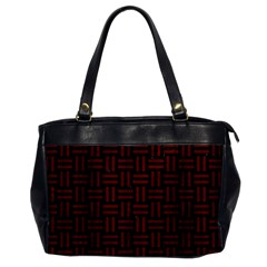 Woven1 Black Marble & Red Wood (r) Office Handbags by trendistuff