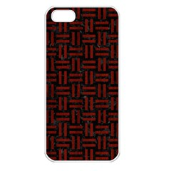 Woven1 Black Marble & Red Wood (r) Apple Iphone 5 Seamless Case (white) by trendistuff