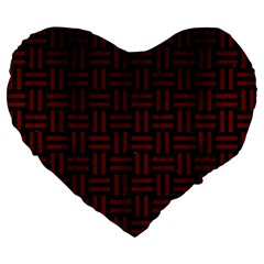 Woven1 Black Marble & Red Wood (r) Large 19  Premium Flano Heart Shape Cushions by trendistuff