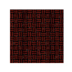 Woven1 Black Marble & Red Wood (r) Small Satin Scarf (square) by trendistuff