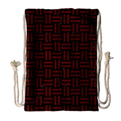 Woven1 Black Marble & Red Wood (r) Drawstring Bag (large) by trendistuff