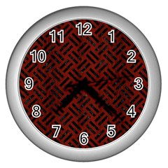 Woven2 Black Marble & Red Wood Wall Clocks (silver)  by trendistuff