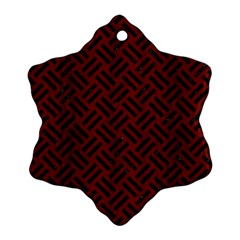 Woven2 Black Marble & Red Wood Snowflake Ornament (two Sides) by trendistuff