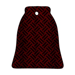 Woven2 Black Marble & Red Wood Bell Ornament (two Sides)