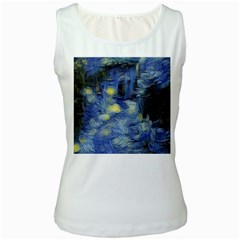 Van Gogh Inspired Women s White Tank Top by 8fugoso
