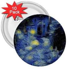 Van Gogh Inspired 3  Buttons (10 Pack)  by 8fugoso