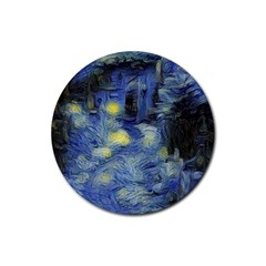 Van Gogh Inspired Rubber Round Coaster (4 Pack)  by 8fugoso
