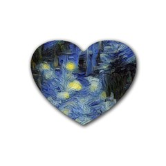 Van Gogh Inspired Heart Coaster (4 Pack)  by 8fugoso