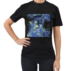 Van Gogh Inspired Women s T Shirt (black) by 8fugoso