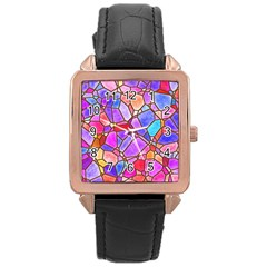 Mosaic Linda 1 Rose Gold Leather Watch  by MoreColorsinLife