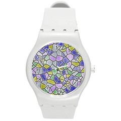 Mosaic Linda 5 Round Plastic Sport Watch (m) by MoreColorsinLife