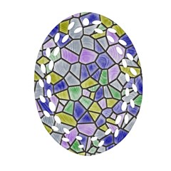 Mosaic Linda 5 Oval Filigree Ornament (two Sides) by MoreColorsinLife