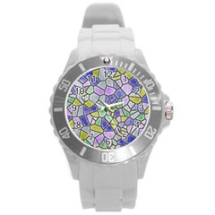 Mosaic Linda 5 Round Plastic Sport Watch (l) by MoreColorsinLife