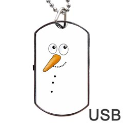 Cute Snowman Dog Tag Usb Flash (two Sides)