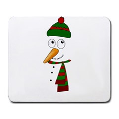 Cute Snowman Large Mousepads by Valentinaart