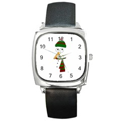 Cute Snowman Square Metal Watch by Valentinaart