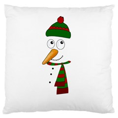 Cute Snowman Large Flano Cushion Case (one Side) by Valentinaart