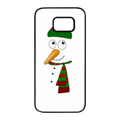 Cute Snowman Samsung Galaxy S7 Edge Black Seamless Case by Valentinaart