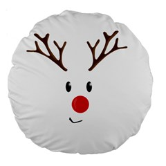 Cute Reindeer  Large 18  Premium Flano Round Cushions by Valentinaart