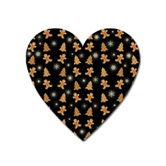 Ginger Cookies Christmas Pattern Heart Magnet by Valentinaart