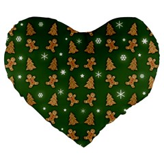 Ginger Cookies Christmas Pattern Large 19  Premium Heart Shape Cushions