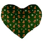 Ginger cookies Christmas pattern Large 19  Premium Heart Shape Cushions Front