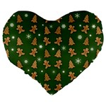 Ginger cookies Christmas pattern Large 19  Premium Heart Shape Cushions Back