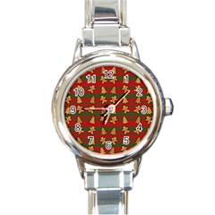 Ginger Cookies Christmas Pattern Round Italian Charm Watch