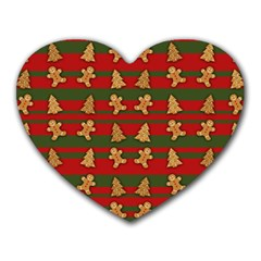 Ginger Cookies Christmas Pattern Heart Mousepads by Valentinaart