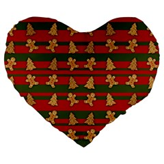 Ginger Cookies Christmas Pattern Large 19  Premium Heart Shape Cushions by Valentinaart