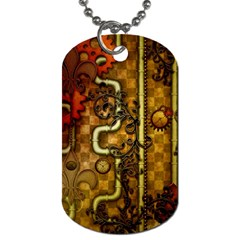 Noble Steampunk Design, Clocks And Gears With Floral Elements Dog Tag (one Side) by FantasyWorld7