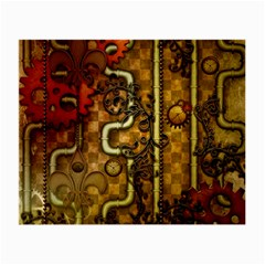 Noble Steampunk Design, Clocks And Gears With Floral Elements Small Glasses Cloth by FantasyWorld7