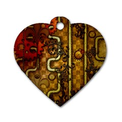 Noble Steampunk Design, Clocks And Gears With Floral Elements Dog Tag Heart (one Side) by FantasyWorld7
