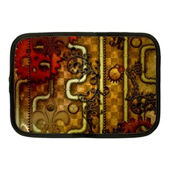 Noble Steampunk Design, Clocks And Gears With Floral Elements Netbook Case (medium)  by FantasyWorld7