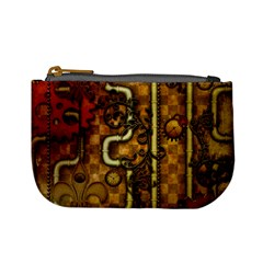 Noble Steampunk Design, Clocks And Gears With Floral Elements Mini Coin Purses