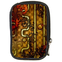 Noble Steampunk Design, Clocks And Gears With Floral Elements Compact Camera Cases by FantasyWorld7