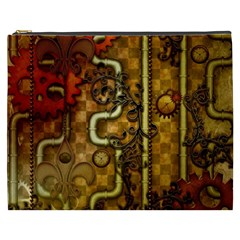 Noble Steampunk Design, Clocks And Gears With Floral Elements Cosmetic Bag (xxxl)  by FantasyWorld7