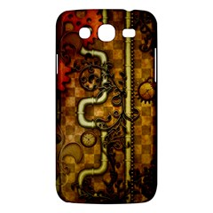 Noble Steampunk Design, Clocks And Gears With Floral Elements Samsung Galaxy Mega 5 8 I9152 Hardshell Case  by FantasyWorld7