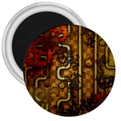 Noble Steampunk Design, Clocks And Gears With Floral Elements 3  Magnets