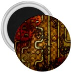 Noble Steampunk Design, Clocks And Gears With Floral Elements 3  Magnets Front