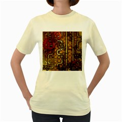Noble Steampunk Design, Clocks And Gears With Floral Elements Women s Yellow T Shirt by FantasyWorld7