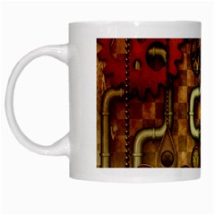 Noble Steampunk Design, Clocks And Gears With Floral Elements White Mugs by FantasyWorld7