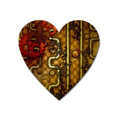Noble Steampunk Design, Clocks And Gears With Floral Elements Heart Magnet by FantasyWorld7