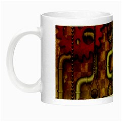 Noble Steampunk Design, Clocks And Gears With Floral Elements Night Luminous Mugs by FantasyWorld7