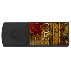 Noble Steampunk Design, Clocks And Gears With Floral Elements Rectangular Usb Flash Drive by FantasyWorld7