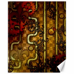 Noble Steampunk Design, Clocks And Gears With Floral Elements Canvas 11  X 14   by FantasyWorld7